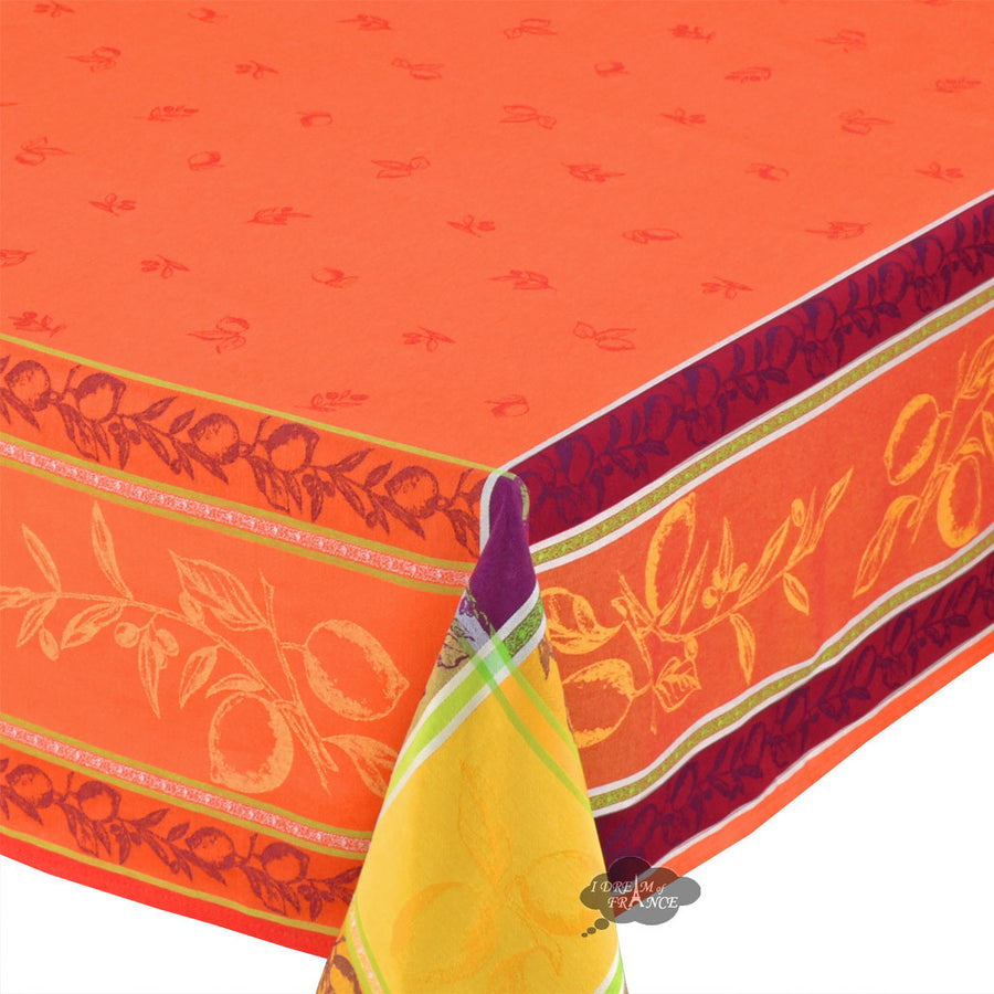 "62x120"" Rectangular Lemon Rust Jacquard Tablecloth"