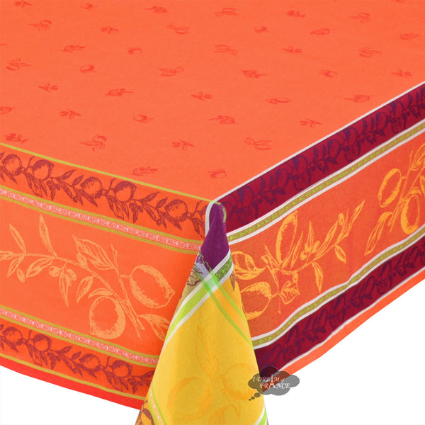 "62"" Square Lemon Rust French Jacquard Tablecloth with Teflon"