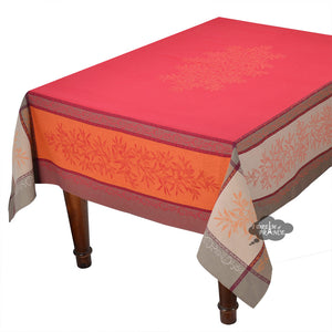 "62x120"" Rectangular Olive Red Jacquard Tablecloth with Teflon"