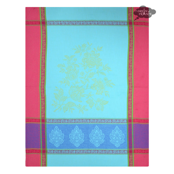 Caprice Turquoise Cotton French Jacquard Dish Towel