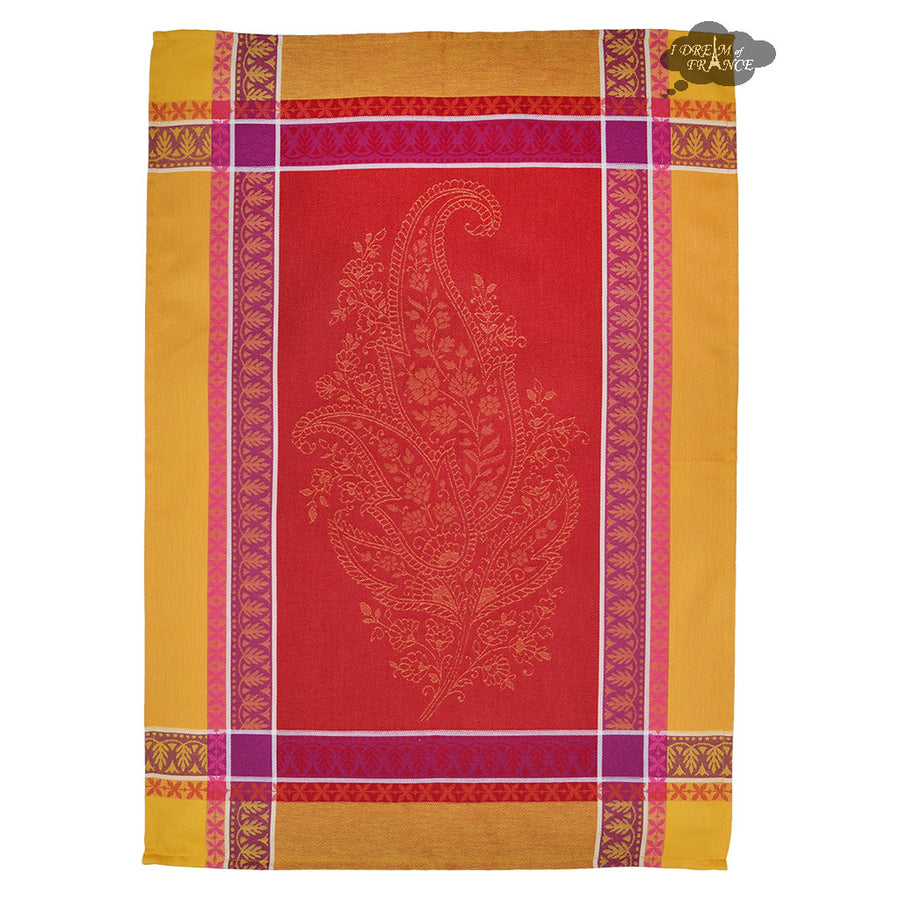 Cassis Red Cotton French Jacquard Dish Towel