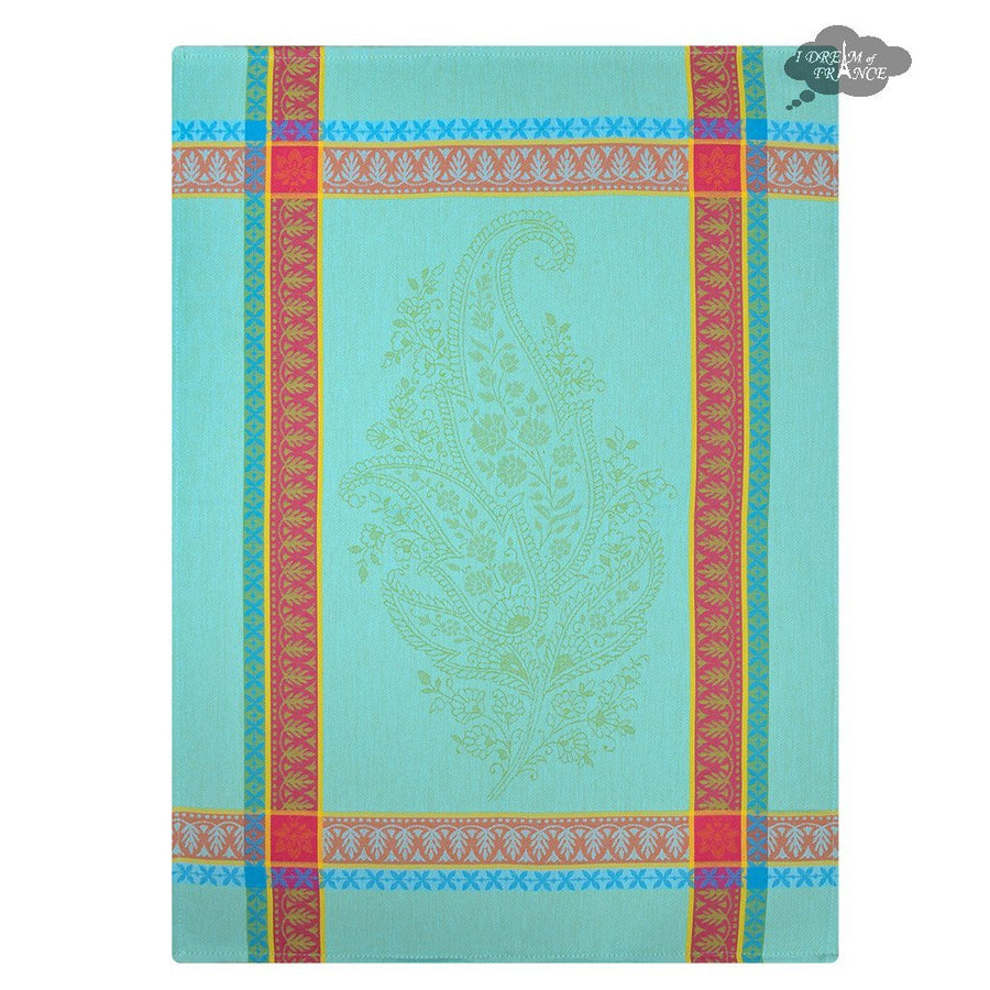 Cassis Turquoise Cotton French Jacquard Dish Towel