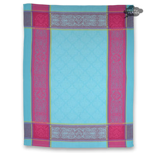 Renaissance Turquoise Cotton French Jacquard Dish Towel