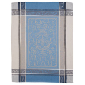 Versailles Gray & Blue Cotton Jacquard Dish Towel