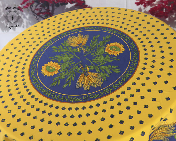 Tournesol Yellow French Provencal Tablecloth - Round