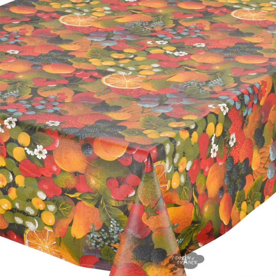 "60x96"" Rectangular Fruit Salad Coated Cotton Tablecloth by Tissus Toselli"