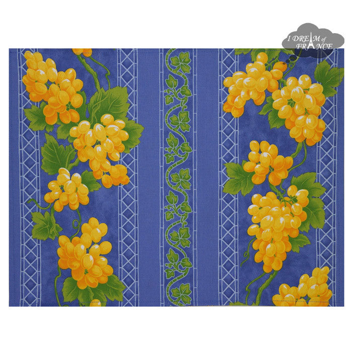 Grapes Blue Coated Reversible Placemat by Le Cluny