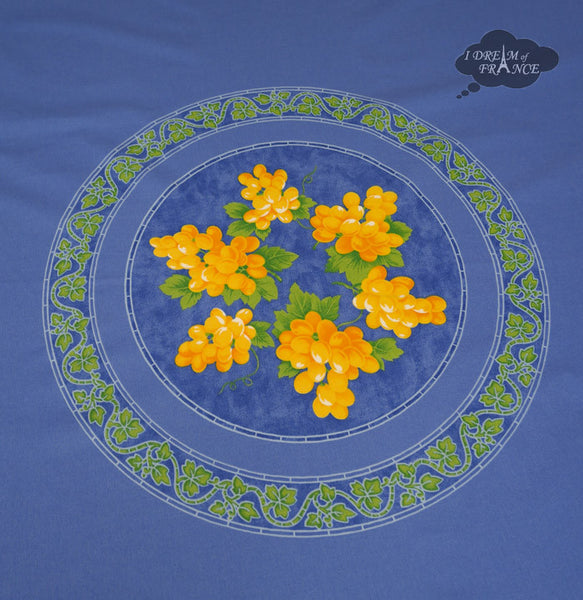"68"" Round Grapes Blue Cotton Coated Provence Tablecloth by Le Cluny"