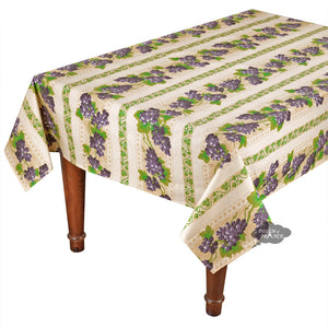 "60x108"" Rectangular Grapes Cream Cotton Coated Provence Tablecloth by Le Cluny"