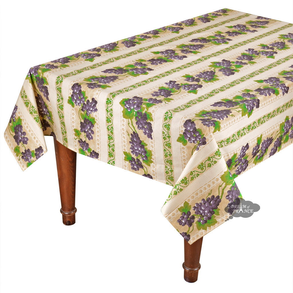 "58x84"" Rectangular Grapes Cream Cotton Coated Provence Tablecloth by Le Cluny"