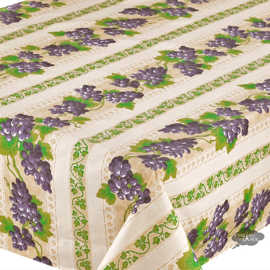 "52x72"" Rectangular Grapes Cream Cotton Coated Provence Tablecloth - Close Up"