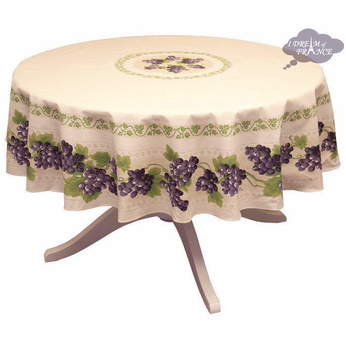 "68"" Round Grapes Cream Cotton Coated Provence Tablecloth by Le Cluny"