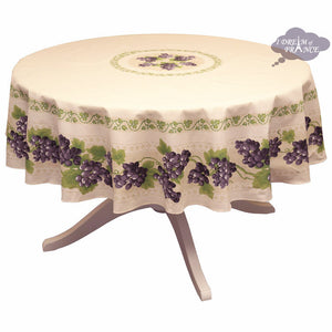 "70"" Round Grapes Cream Cotton Coated Provence Tablecloth by Le Cluny"