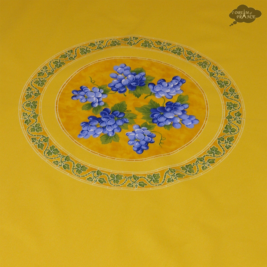 "68"" Round Grapes Yellow Cotton Coated Provence Tablecloth by Le Cluny"