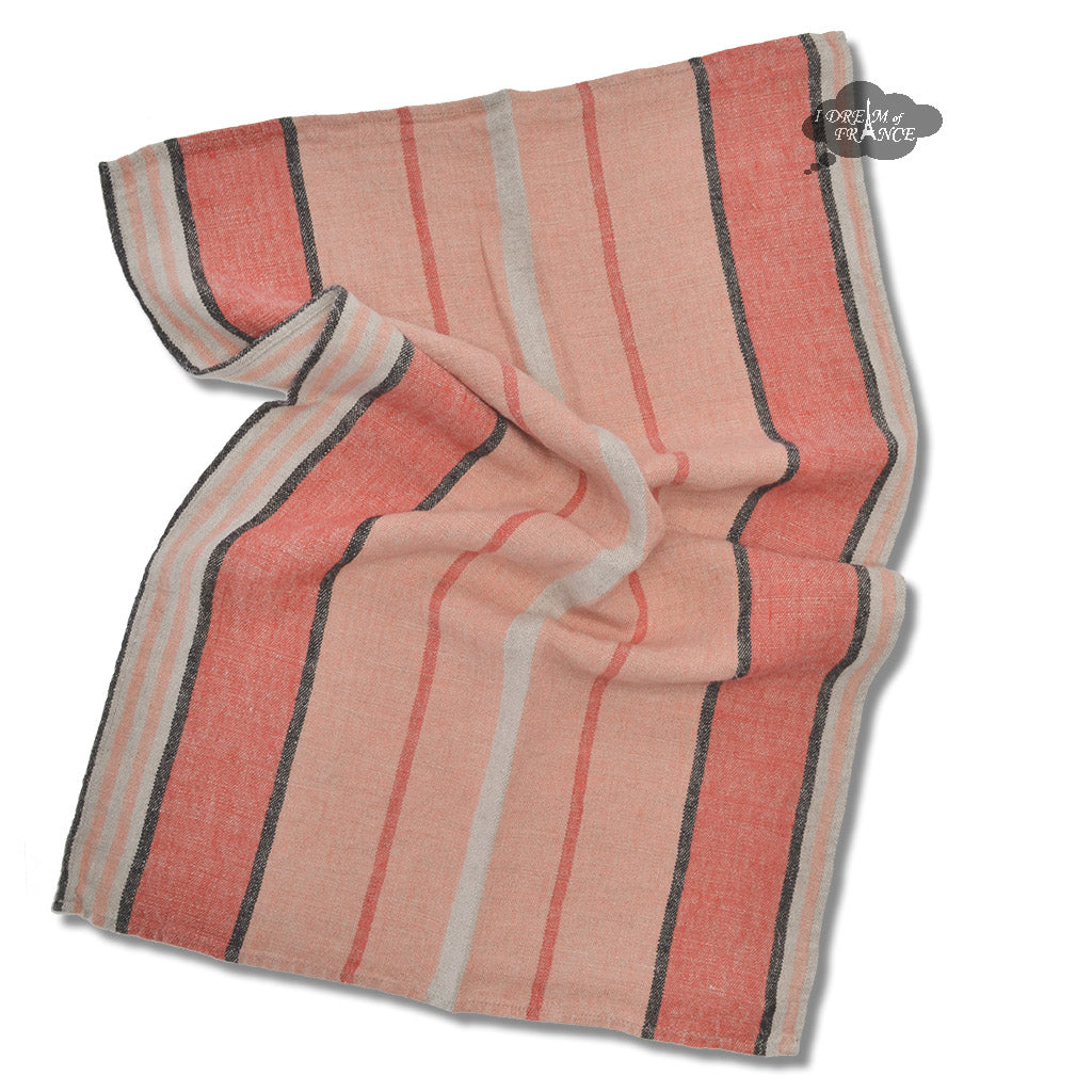 Piana Peach French Linen Kitchen Towel By Harmony French Tablecloths And Tea Towels