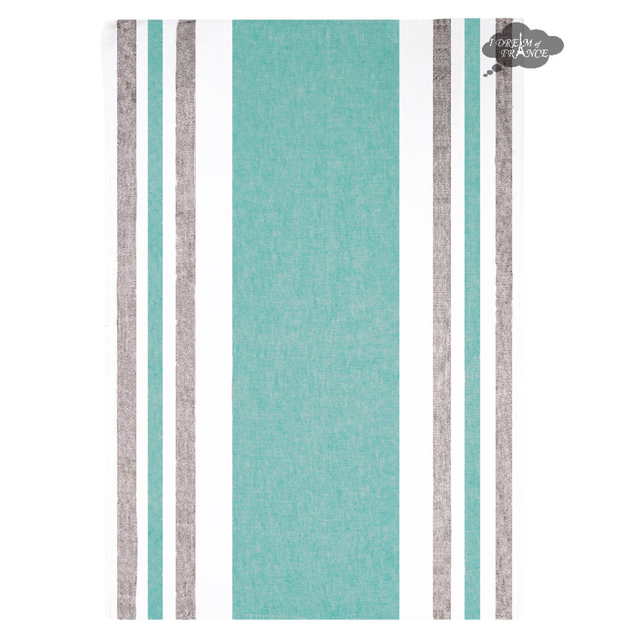 Harmony Roma French Linen Kitchen Towel - Aqua and Gray