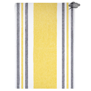 Roma Yellow & Gray French Linen Kitchen Towel by Harmony