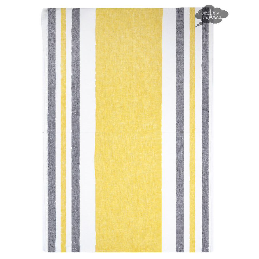 Harmony Roma French Linen Kitchen Towel - Yellow and black