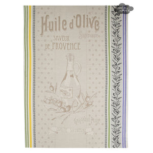 Huile d'Olive Picholine French Jacquard Dish Towel by Tissus Toselli