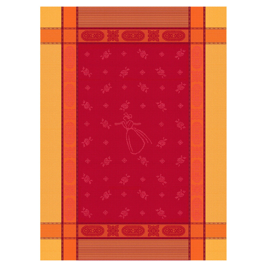 Arlesienne Red Cotton French Jacquard Dish Towel