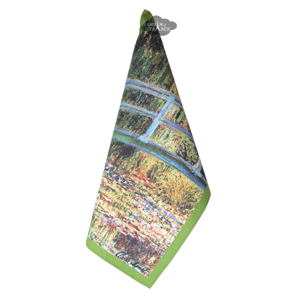 Monet Bridge Over a Pond of Water Lilies French Kitchen Towel by L'Ensoleillade