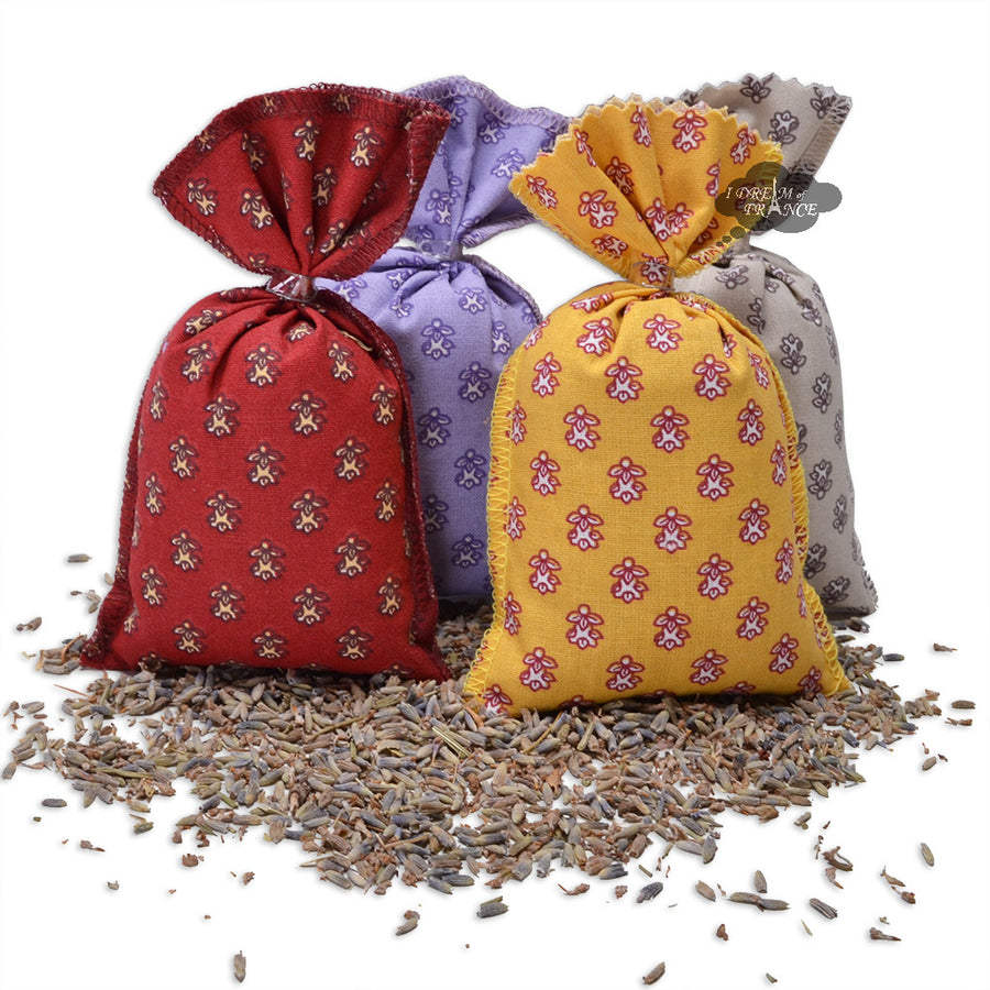 French Lavender sachets with Camargue Allover Fabric - Set of 4