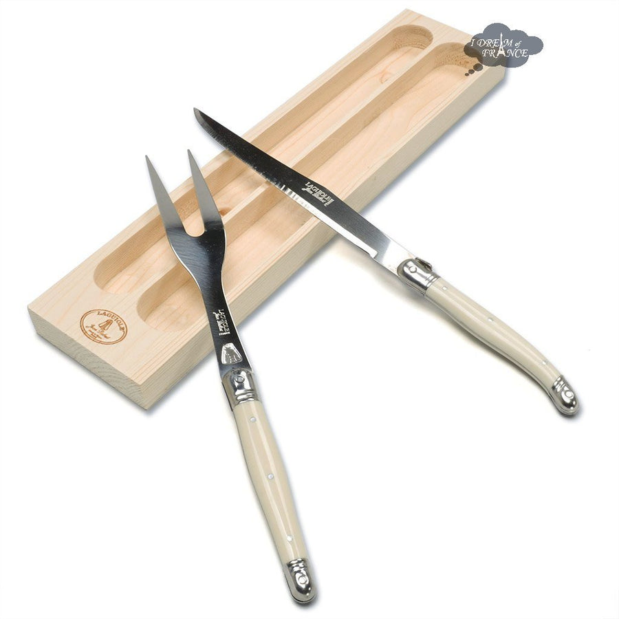 Laguiole Jean Dubost Table knives Carving set - Faux Ivory Handles