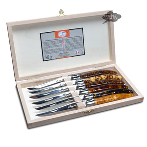 Laguiole Jean Dubost DeLuxe Table knives set of 6 - Faux Tortoiseshell