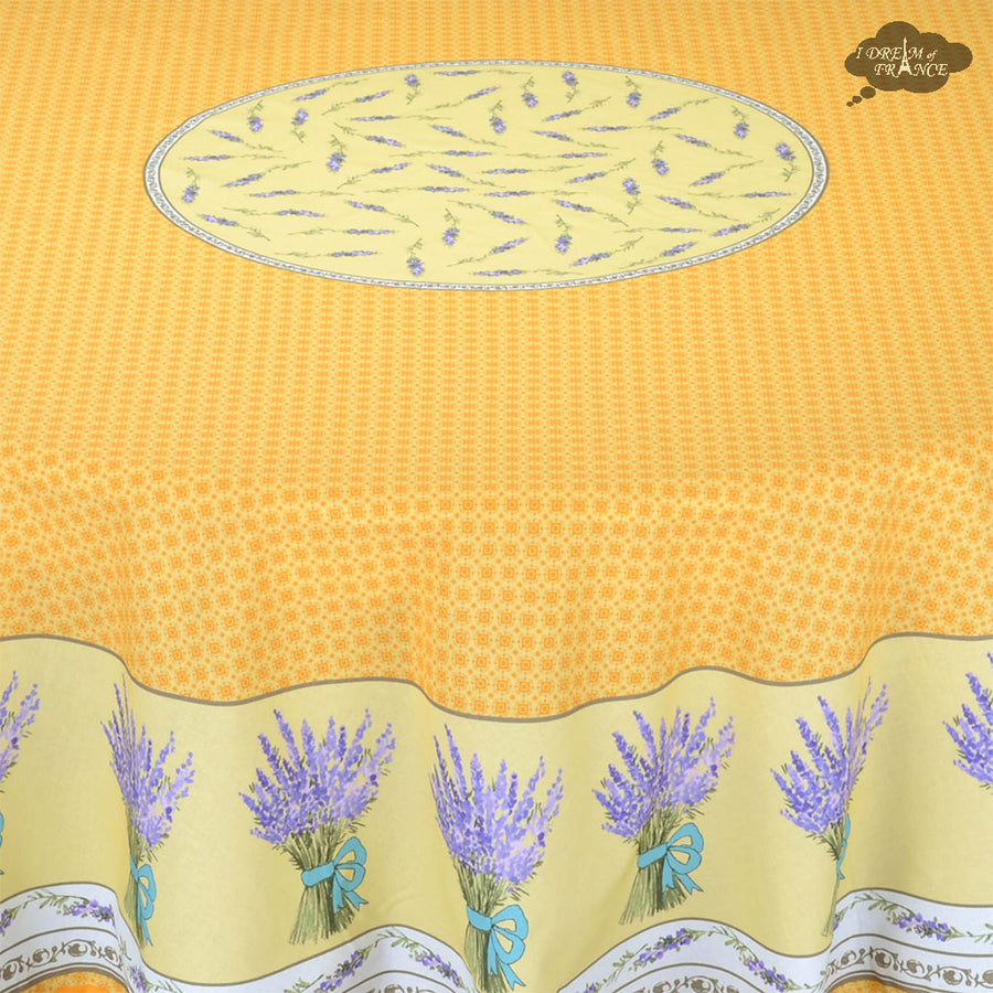 "70"" Round Lavande Yellow Cotton Provence Tablecloth by STOF"
