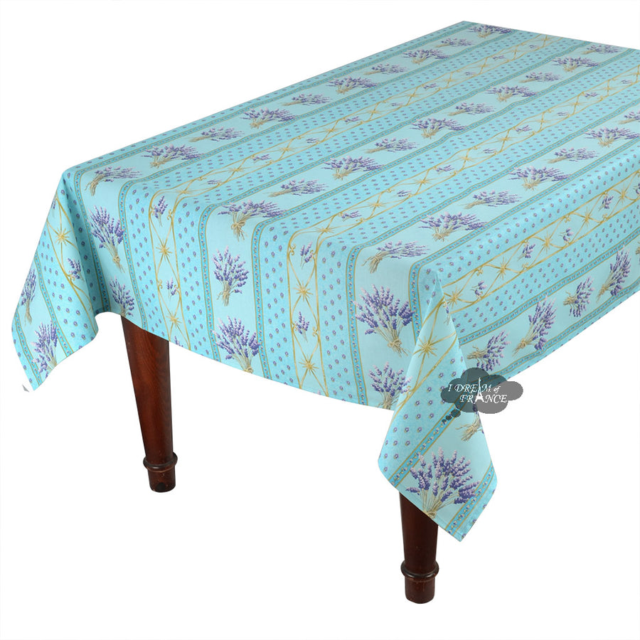 "60x120"" Rectangular lavender Blue Cotton Coated Provence Tablecloth by Le Cluny"