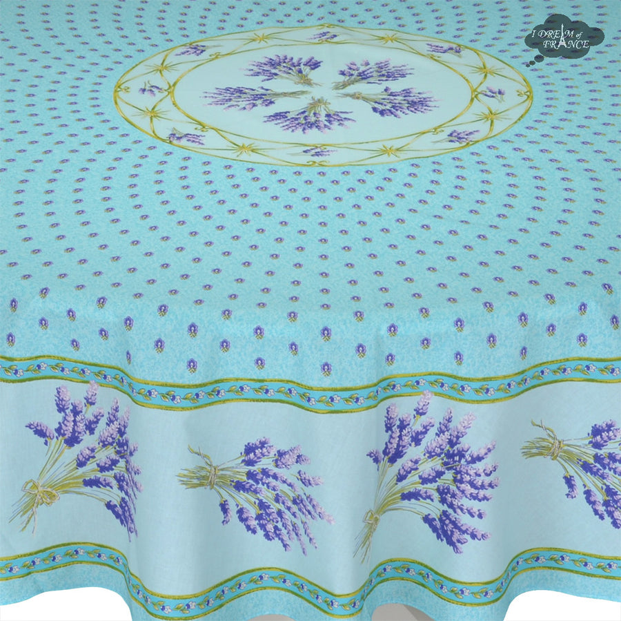 "70"" Round Lavender Blue Cotton Coated Provence Tablecloth by Le Cluny"