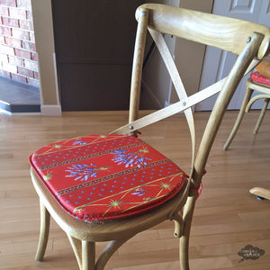 Lavender Red Coated French Style Chair Pad by Le Cluny