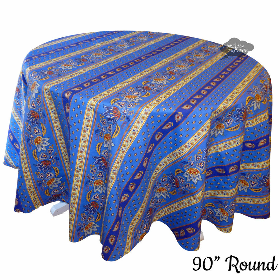 "90"" Round Lisa Blue Cotton Coated Provence Tablecloth by Le Cluny"