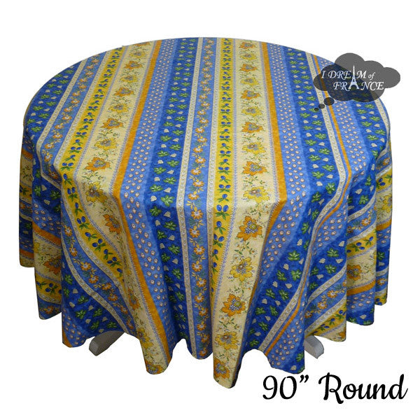 "90"" Round Monaco Blue Cotton Coated Provence Tablecloth by Le Cluny"