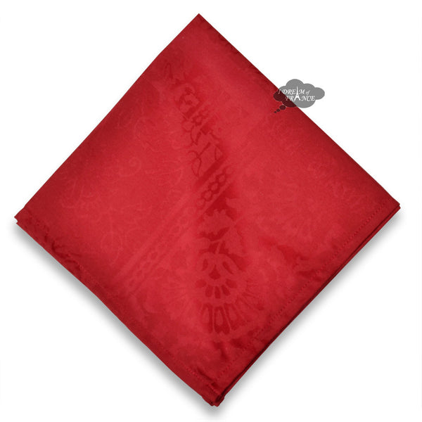 Damask Red Napkin by Le Cluny