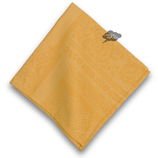 Damask Yellow Napkin by Le Cluny