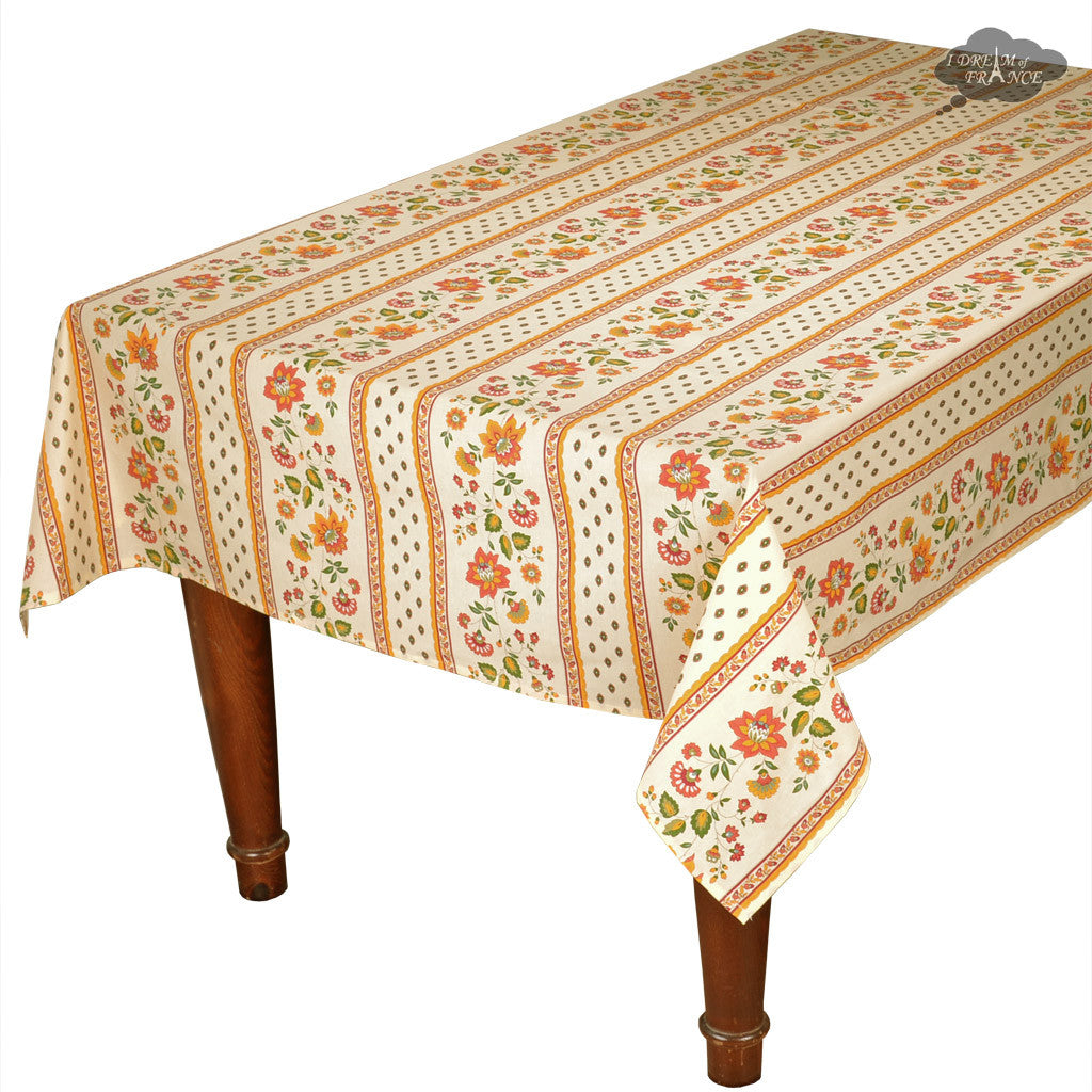 "58x84"" Rectangular Fayence Cream Cotton Coated Provence Tablecloth by Le Cluny"