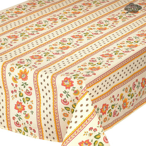 "60x 96"" Rectangular Fayence Cream Cotton Coated French Tablecloth by Le Cluny"