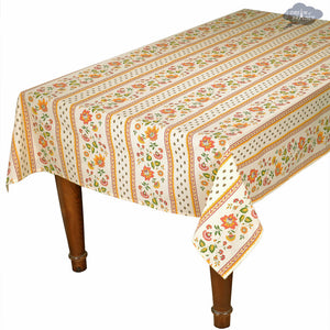 "60x132"" Rectangular Fayence Cream Cotton Coated Provence Tablecloth by Le Cluny"
