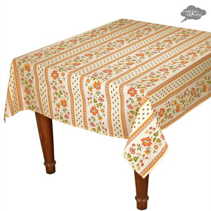 "58"" Square Fayence Cream Cotton Coated Provence Tablecloth by Le Cluny"
