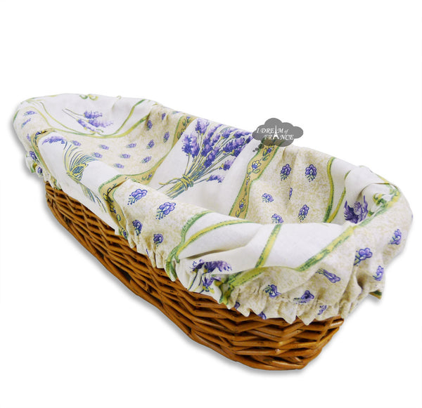 Lavender Cream French Baguette Basket with Removable Liner by Le Cluny