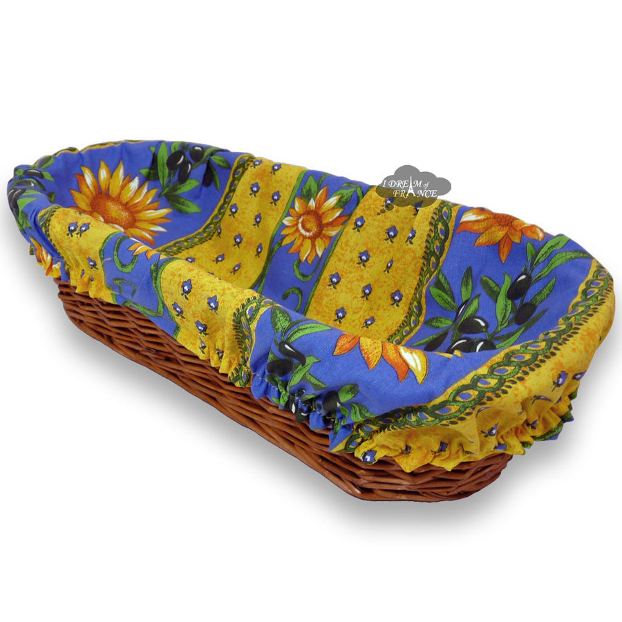 Sunflower Blue Provence Baguette Basket with Removable Liner by Le Cluny
