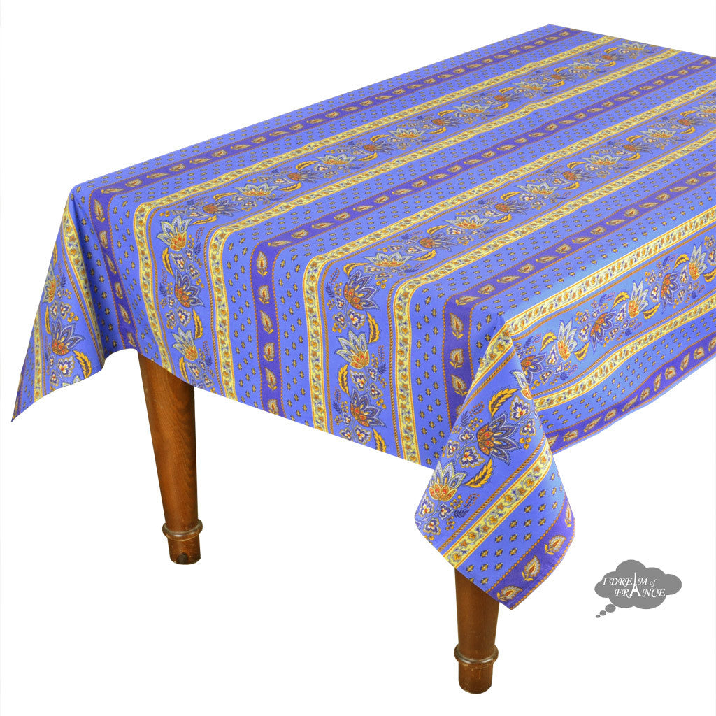 "60x120"" Rectangular Lisa Blue Cotton Coated French Country Tablecloth by Le Cluny"