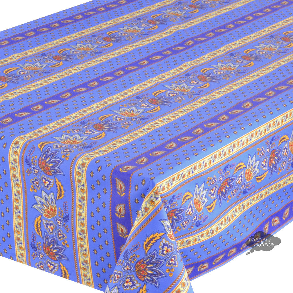 "60x120"" Rectangular Lisa Blue Cotton Coated French Country Tablecloth - Close Up"