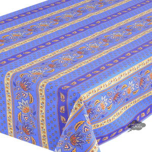 "60x132"" Rectangular Lisa Blue Cotton Coated Provence Tablecloth - Close Up"