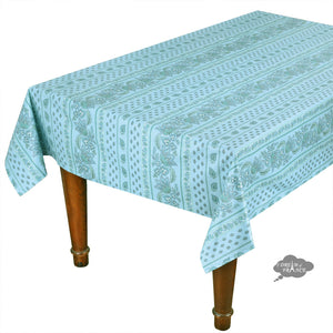 "60x132"" Rectangular Lisa Turquoise Cotton Coated Provence Tablecloth by Le Cluny"