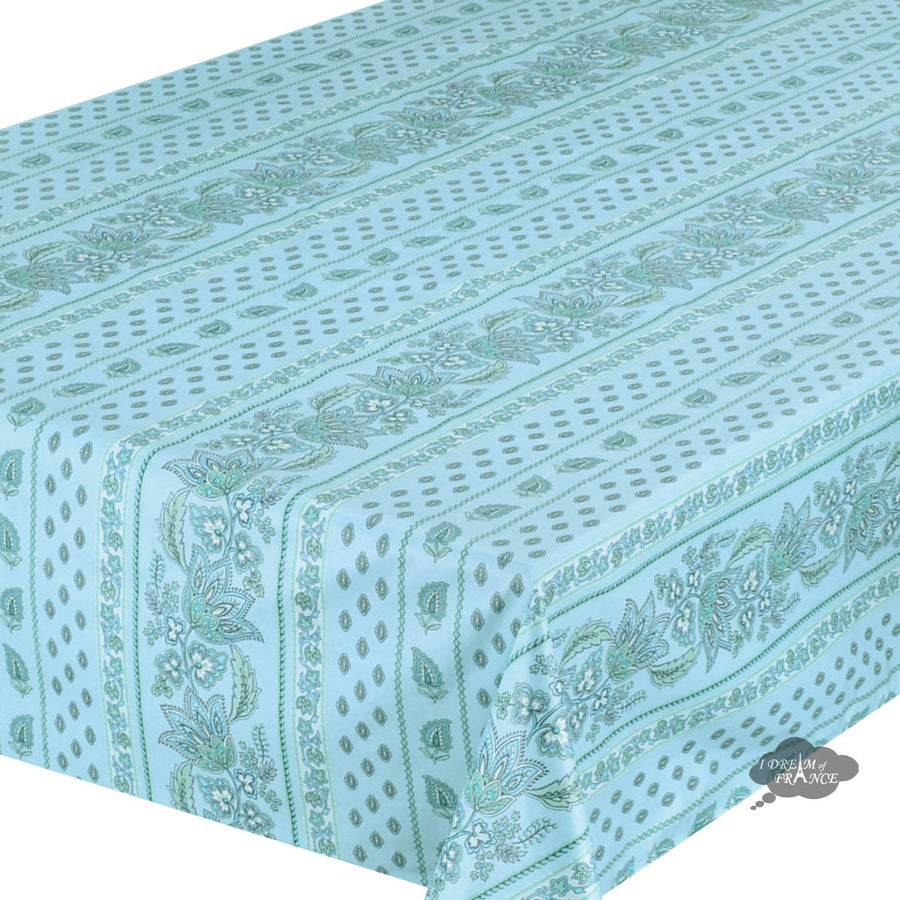 "60x 96"" Rectangular Lisa Turquoise Cotton Coated Provence Tablecloth by Le Cluny"