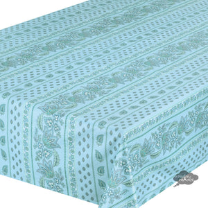 "60x108"" Rectangular Lisa Turquoise Cotton Coated Provence Tablecloth - Close Up"