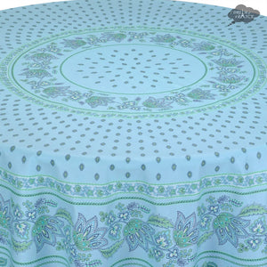 "68"" Round Lisa Turquoise Cotton Coated Provence Tablecloth - Close Up"