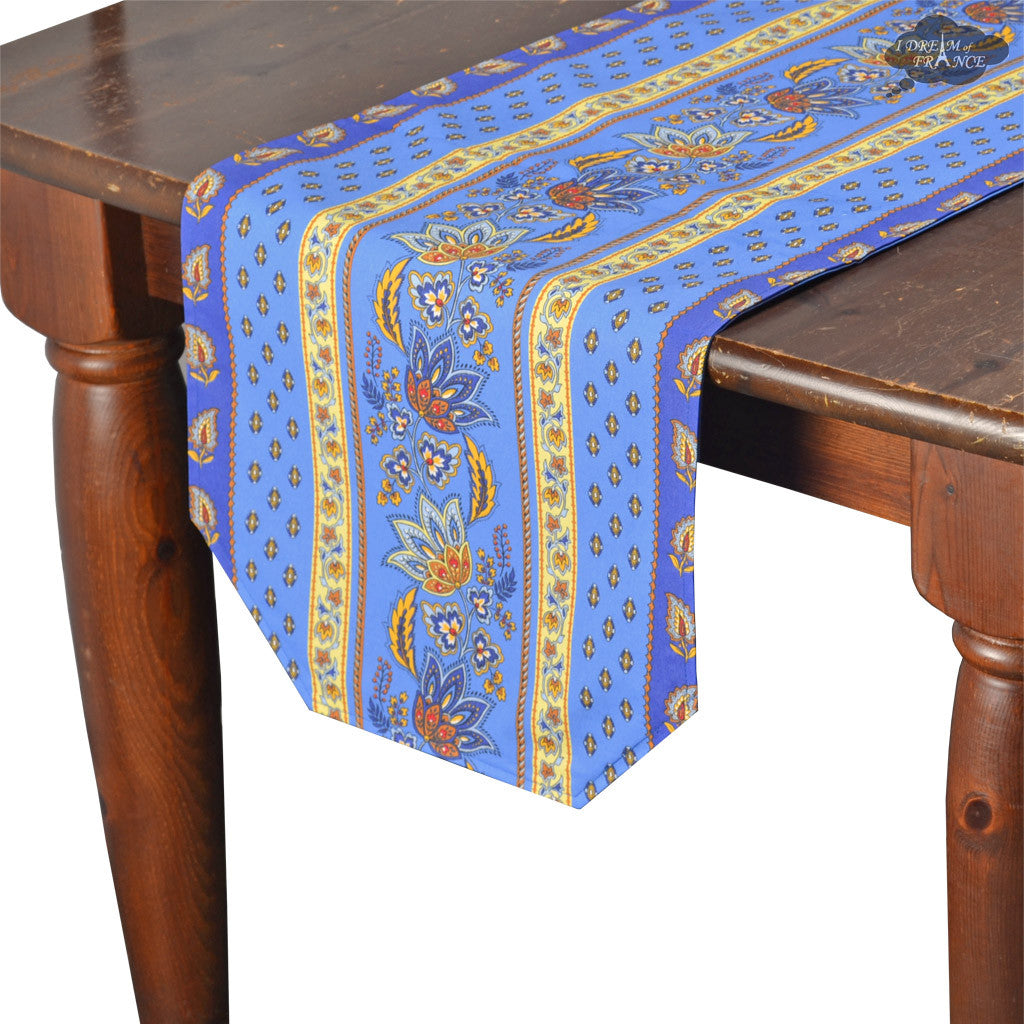 "14x72"" Lisa Blue Cotton Coated Provence Table Runner by Le Cluny"